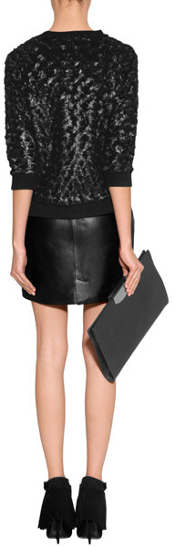 McQ Black Leather Zip Detail Mini-Skirt