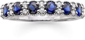 MODERN BRIDE I Said Yes 1/7 CT. T.W. Diamond and Lab-Created Blue Sapphire 4mm Wedding Band