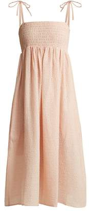 Marysia Swim Broderie Anglaise Cotton Midi Dress - Womens - Pink
