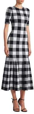 Oscar de la Renta Godet Checkered Dress