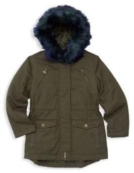 Tahari Girl's Faux Fur Trim Cargo Coat