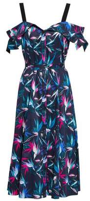 Jason Wu Cold-shoulder Floral-print Cotton-poplin Midi Dress