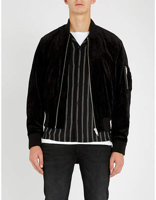 The Kooples Oversized padded velvet bomber jacket