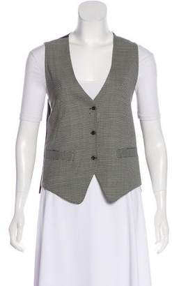 L'Agence Houndstooth Print Button-Up Vest