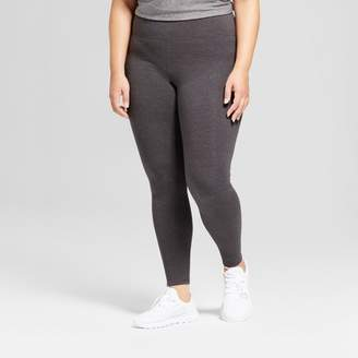 Champion Women's Plus-Size Cotton Spandex Leggings Dark Gray Heather 3X