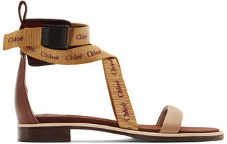 Chloé Burgundy and Orange Veronica Sandals