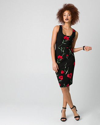 Le Château Floral Print Ponte Scoop Neck Shift Dress