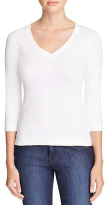 Three Dots Three Quarter Sleeve V Neck Tee