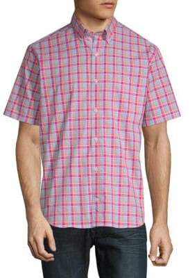 Tailorbyrd Baku Plaid Short-Sleeve Cotton Button-Down Shirt