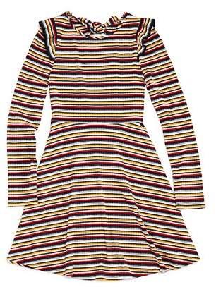 Aqua Girls' Ribbed & Striped Skater Dress, Big Kid - 100% Exclusive