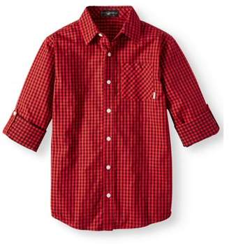 Beverly Hills Polo Club Plaid Long Sleeve Woven Shirt (Little Boys)