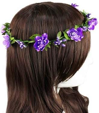 Broadfashion Flower Headband Garland Crown Festival Wedding Hair Wreath Boho Floral Headband