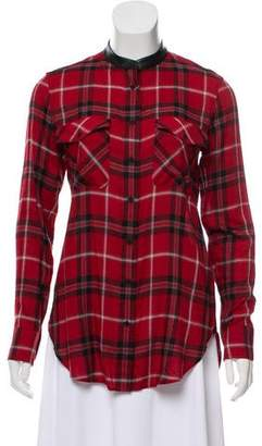 Vince Leather-Trimmed Plaid Top