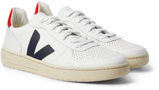 Veja V-10 Rubber-Trimmed Leather Sneakers
