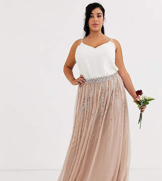 Maya Plus Bridesmaid delicate sequin tulle skirt in taupe blush
