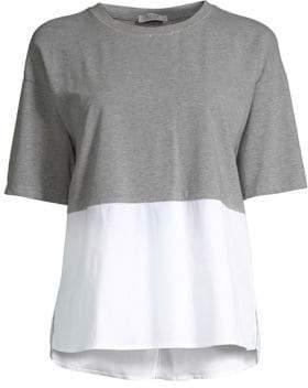 Peserico Short Sleeve Poplin Jersey Top
