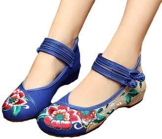 AvaCostume Rubber Sole Lotus Embroidery Flats Mary Jane Shoes for Womens