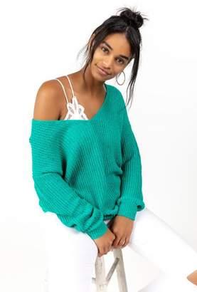 francesca's Cleo Twist Back Sweater - Black