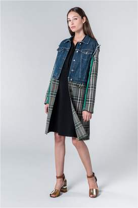 Sonia Rykiel Denim And Tartan Patchwork Coat