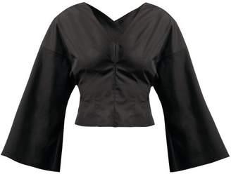 A.W.A.K.E. Mode Frau Marta V Neck Wide Sleeve Top - Womens - Black