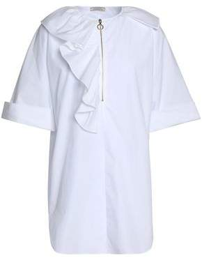 COM Nina Ricci Ruffled Cotton-Poplin Shirt