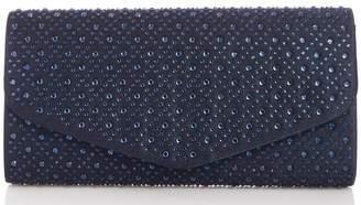 Quiz Silver Shimmer Jewel Clutch Bag