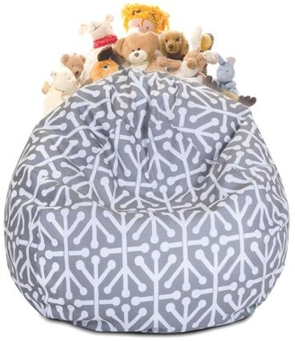 Majestic Home Goods Aruba Stuffed Animal Toy Storage Bean Bag Chair with Transparent Mesh Base