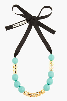 Marni EDITION Turquoise Oversize Beaded Gold-Detailed Necklace