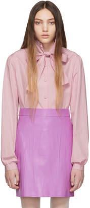 Gucci Purple Poplin Bow Shirt