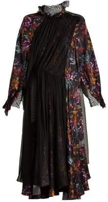 Balenciaga Contrast Panel Silk Dress - Womens - Purple Multi