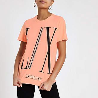 River Island Womens Orange 'LX' luxe print boyfriend T-shirt