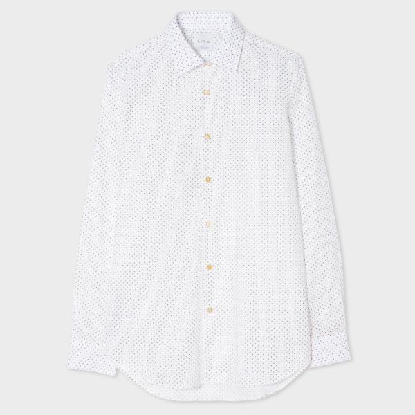 Paul SmithMen's Tailored-Fit White 'Suit Charm Polka' Print Shirt