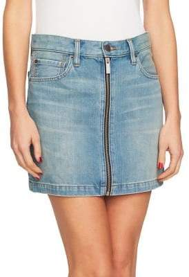 1 STATE 1.STATE A-Line Zip Front Denim Mini Skirt