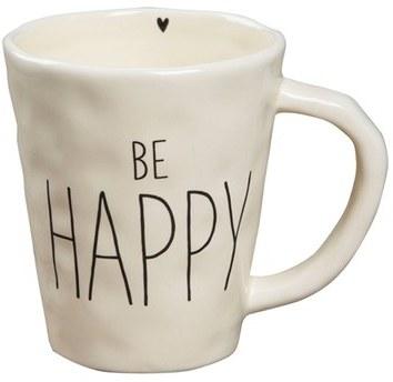 Natural Life 'Be Happy' Ceramic Mug