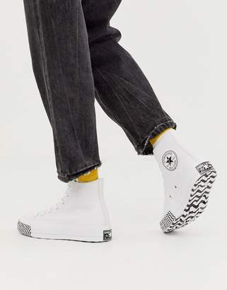 Converse white Chuck 70 Hi leather voltage sneakers
