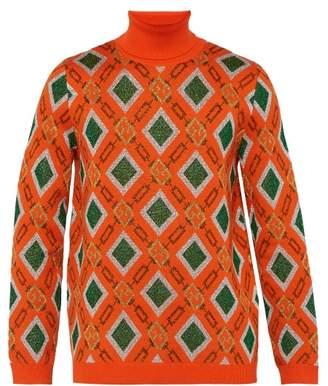 Gucci Metallic Logo Jacquard Wool Blend Sweater - Mens - Orange
