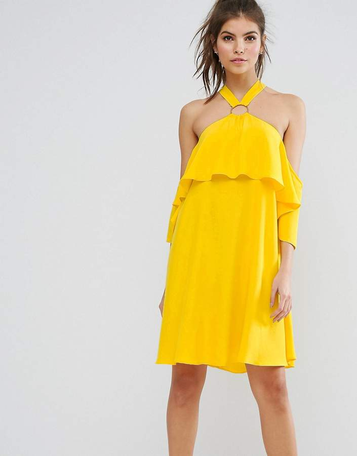 Asos ASOS Soft Halter Mini Dress with Eyelet