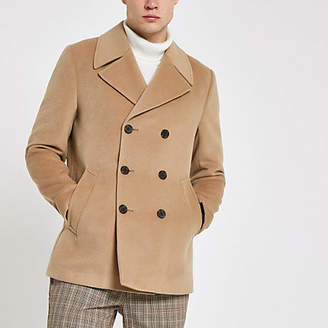 River Island Light brown double breasted peacoat