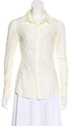 Equipment Sheer Lace Button-Up Top