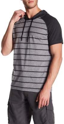 Burnside Short Sleeve Stripe Hooded Pullover