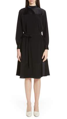 Co Button Shoulder Stretch Crepe & Satin Dress