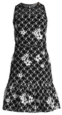 MICHAEL Michael Kors Jacquard Flower Sleeveless A-Line Dress