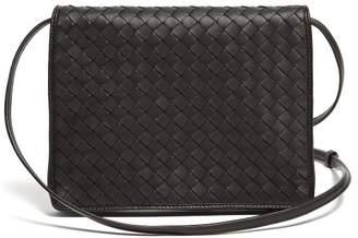 210cfcbcaf Bottega Veneta Intrecciato Woven Leather Cross Body Bag - Womens - Black