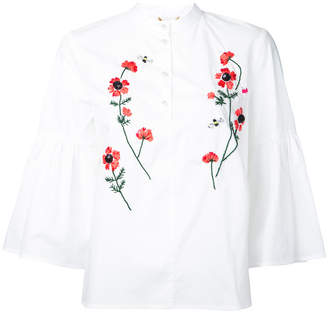 Muveil embroidered flower blouse