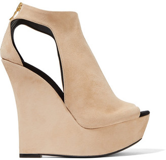 Balmain - Amaya Cutout Suede Platform Sandals - IT36.5 $1,275 thestylecure.com