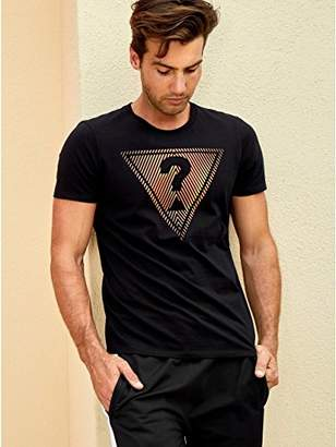 GUESS Men's Short Sleeve Linear Ombre Crew Neck Tee