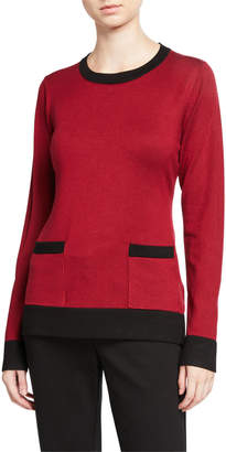 Neiman Marcus Contrast Banded Long-Sleeve Pullover