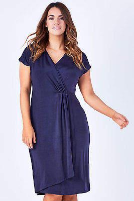 NEW bird by design Womens Knee Length Dresses The Faux Wrap Dress Twilight