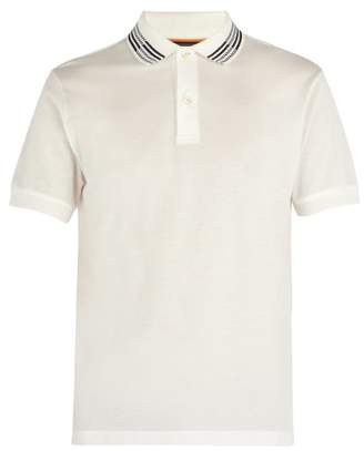 Paul Smith Striped Collar Cotton Polo Shirt - Mens - White