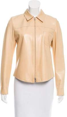 Brunello Cucinelli Pointed Collar Leather Jacket